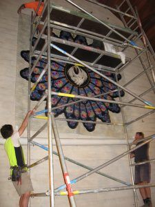 Hanging the quilt needed scaffolding